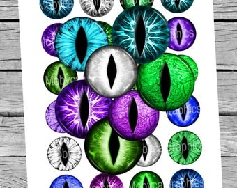 Dragon Eyes 20mm 25mm 1 inch 1.5 inch Printable Circle Images Green Purple Blue White Slit Eyes Digital Collage Sheet