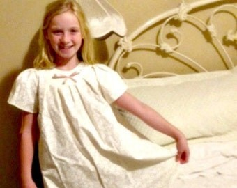 SWEET SUMMER Nightgown, Choose Sleeves. Old Fashioned Nightgown/Dress, Costume. Cotton, Custom Made,Short Sleeved, Ruffled Hem!