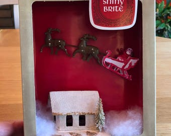 Vintage Christmas Shadow Box / Diorama - Santa with Sleigh and House - Shiny Brite