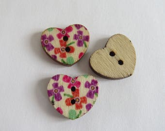 Purple and orange floral wooden heart button