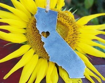 California San Francisco Ornament Rustic Raw Steel Love CA Metal State Heart Christmas Tree Decoration Holiday Gift Stocking Stuffer