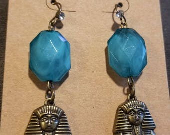 Blue/Teal and Bronze Egyptian Pharaoh Dangle Earrings, Egypt Earrings, Pharaoh, The Mummy, Ancient Egypt, History Jewelry, Pharaoh Jewelry