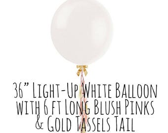 "Fringe Tassel Balloon with Blush Pink and Gold Tassles, 36"" White Balloon, Big Light Up LED Balloon, Party Decorations, Wedding, Photo Prop"