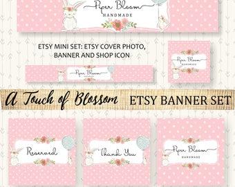 Etsy Banner Bunny Kids Baby Balloons Floral Flowers Peonies Pink Facebook Business Card Website Banner Shop Banner Custom Handmade BS007