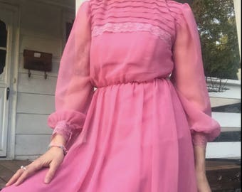 Angelic 1970s Dusty Rose Prairie Dress Size M/L