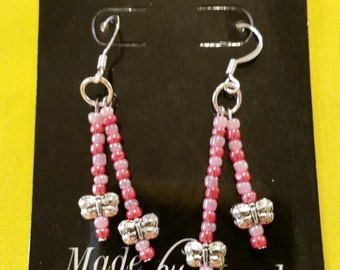 "DRAGONFLY BEAD EARRINGS - Purple and Pink Glass Beads w/ Metal Dragonflies on Sterling Silver Clad Fish Hook Wire - 1.5"" Long"