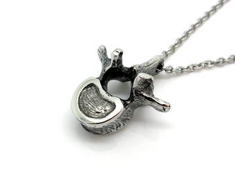 Lumbar Vertebrae Necklace, Handmade Anatomical Pendant, Spine Charm