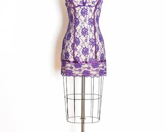 vintage 80s dress, sheer lace dress, lingerie dress, purple lace dress, 80s clothing, empire waist, lace bows nightie, slip dress, lace slip