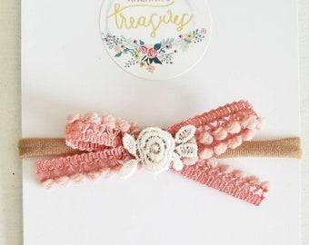 Lace & Bauble bow. Available as a headband or hair clip