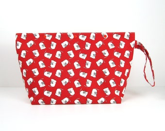 Medium cat project bag for knitting, 3 skein cute red knitting bag with snaps, straight knitting needle bag, crochet storage