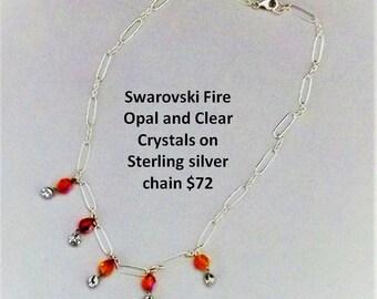 Swarovski Fire Opal Crystals on Sterling Silver