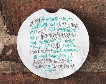 Philippians 4:6-7  Absorbent Stone car coasters (set of 2); Bible Verse