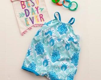 Baby Girl Romper, Toddler Romper, Beach Romper, Summer Romper, Baby Girl Gift, Baby Shower Gift, Aqua Romper, Sizes 3mths- 12/18mths