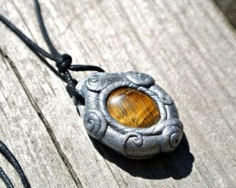 Tiger Eye Pendant * Layering Necklace * Adjustable * Gemstone Jewelry * Healing Stones * Earthy * Boho