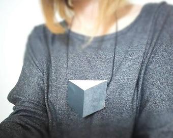SALE Grey Leather shirt necklace,unique collar accessory, unisex bow tie alternative, statement necklace, bold necklace, shirt tie