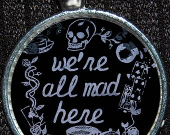 Alice in Wonderland Cheshire Cat We're All Mad Here Disney Silver Pendant Necklace Jewelry