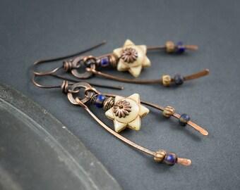 Tribal Star Earrings • Rustic Hand Forged Copper Earrings • Raw Metal Earrings • Artisan Ethnic Jewelry • Beige And Blue Boho Earrings