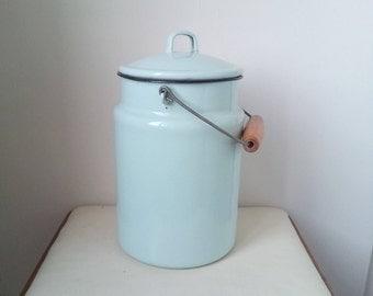 Kitchenalia - vintage Mint enamel milk can with lid - enamelware - milk pail pot