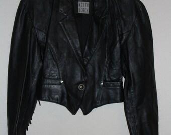 Vintage punk fringe leather jacket small xsmall