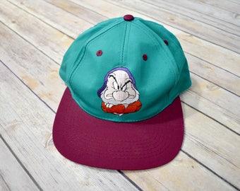 90s GRUMPY SNOW WHITE and the Seven Dwarfs Youth Snapback Hat - Teal Maroon - Embroidered Cap - Disney Movie Walt Disney Disneyland