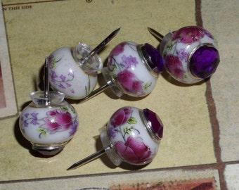 Glass big hole bead Push Pins - purple - flowers