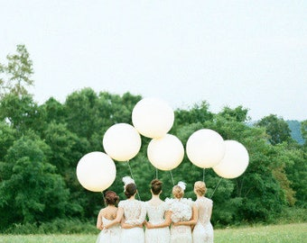 """6 Pack 36"""" White Balloons HUGE Latex Balloons or Ivory  Balloons, Bright White Balloons, Round Balloons, Qualatex Thick Latex 36"""" Balloons"""