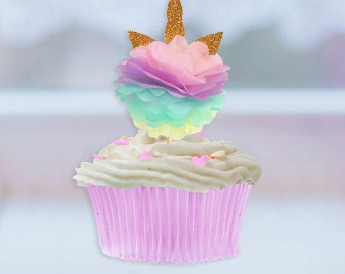 Unicorn Cupcake Toppers, Unicorn Party, Unicorn Birthday, Unicorn Horn Cupcake topper