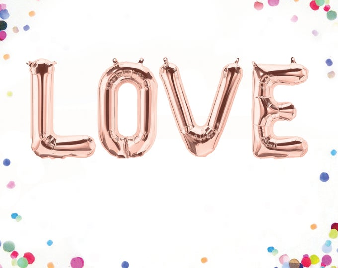 Rose Gold Love Balloon, Rose Gold Balloon Letters, Love Balloon Rose Gold, Rose Gold Wedding Decor, Letter Balloons 40, Letter Balloons