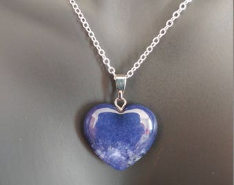 Natural Stone Heart Necklace 18 Inches 925 Sterling Silver Stamped Chain Blue