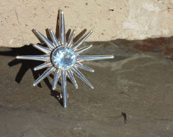 Miguel Melendez ~ Vintage Taxco Sterling Silver and Light Blue Topaz Star Pin