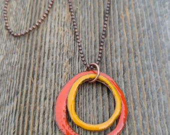 Enameled Copper Circle Necklace
