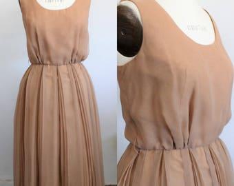 Vintage 1970s  Dress / 70s Jack Bryan Taupe Chiffon Dress / Romantic Dress / Boho Dress / 70s Spring Dress / 70s Summer Day Dress