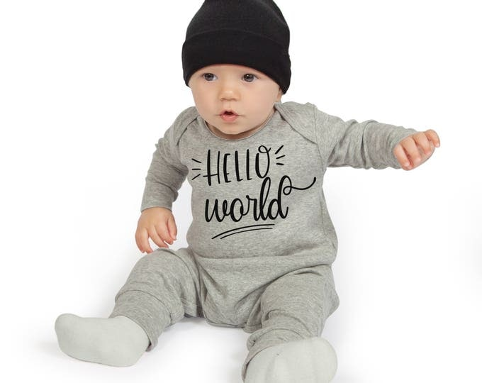 Newborn Boy Take Home Romper, Baby Boy Coming Home Romper, Baby Boy Bodysuit, Gray Romper Cap, Hello World, TesaBabe RC81HG63HG