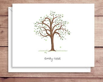 Tree Note Cards - Folded Note Cards - Heart Tree Note Cards - Tree Thank You Notes - Heart Note Cards
