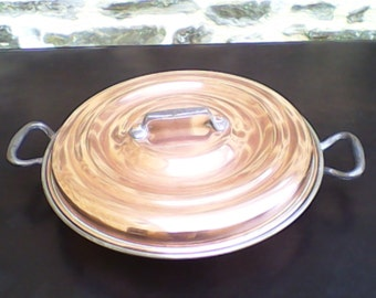 Vintage French Round Copper Gratin /Oven Pan with Lid