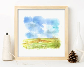Contemporary, Landscape Wall Art, Watercolor painting, Abstract, simple, modern, Gift for Her, Frame- Landscape 3