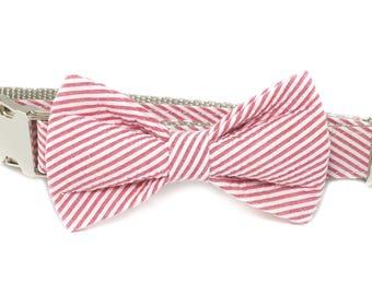 Red Seersucker Dog Bow Tie ONLY, pet bow tie, collar bow tie, wedding bow tie