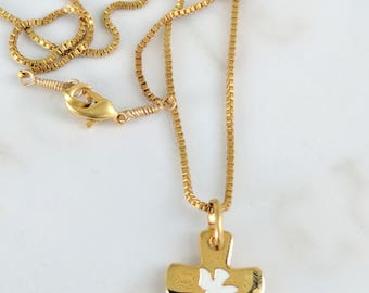 Necklace - Holy Spirit Cross 14x16mm on 18 inch 18K Gold Plated Parisian Chain