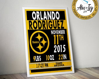 Steelers Black and Gold Birth Announcement Wall Art - Printable