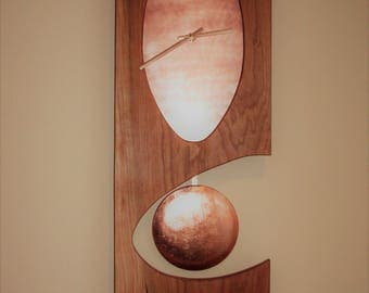 Solid American Cherry Wall Clock with Pendulum and Westminster Chimes Copper Center Copper Bob