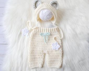 Polar Bear Costume, Christmas Baby Photo Outfit, Polar Bear Hat, Bear Bonnet, Winter Photo Prop Baby, Polar Bear Outfit, Baby Bear Outfit