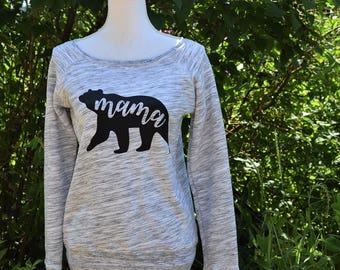 the only jenny mama bear sweatshirt - womens off shoulder - boat neck - sweatshirt - gray marble sweatshirt - mommy to be sweatshirt - mama