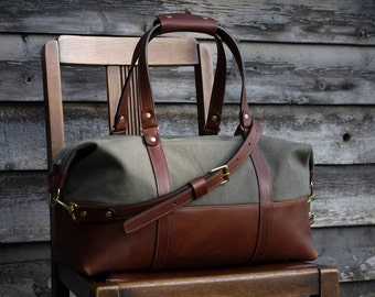 Weekend Bag - Overnight Bag - Canvas and Leather Bag - Travel Bag - Leather Bag - Duffel Bag – Luggage – Weekender | by BLUE & GRAE