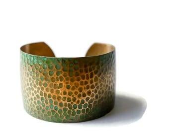 Hammered Brass Cuff Bracelet, Gold Cuff Bracelet, Patina Cuff, Wide Cuff, Hammered Cuff, Statement Cuff, Textured Bracelet, Cuff for Her