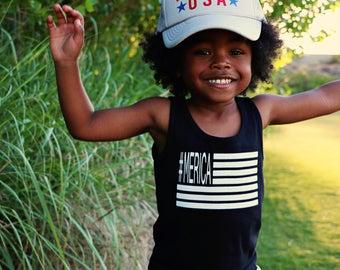 Merica Flag Kids Tee, 4th of July shirt, #merica, Flag shirt onesie, Trendy kid clothes, child shirt, Graphic Tee, Flag Tank, toddler shirt