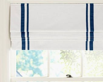 "Flat Roman Shade ""White Linen with Double Border"" with Chain Mechanism - Custom Shade"