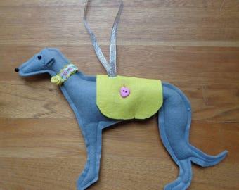 Hand made Grey felt Greyhound, Whippet, Lurcher type dog hanging decoration