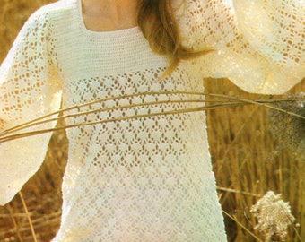 Crochet Pattern PDF Womens Ladies Lacy Tunic 4 ply