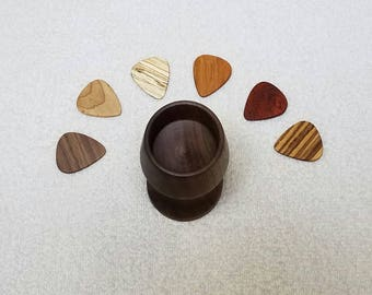 Fathers Day Gift, Wood Guitar Picks, Music Lover Gift, Guitar Pick Bowl, Ready to Ship, Music Room Decor, Acoustic Wood Pick