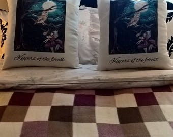 Art cushions  Keepers of the forest, Fairy, Owl, Woodland